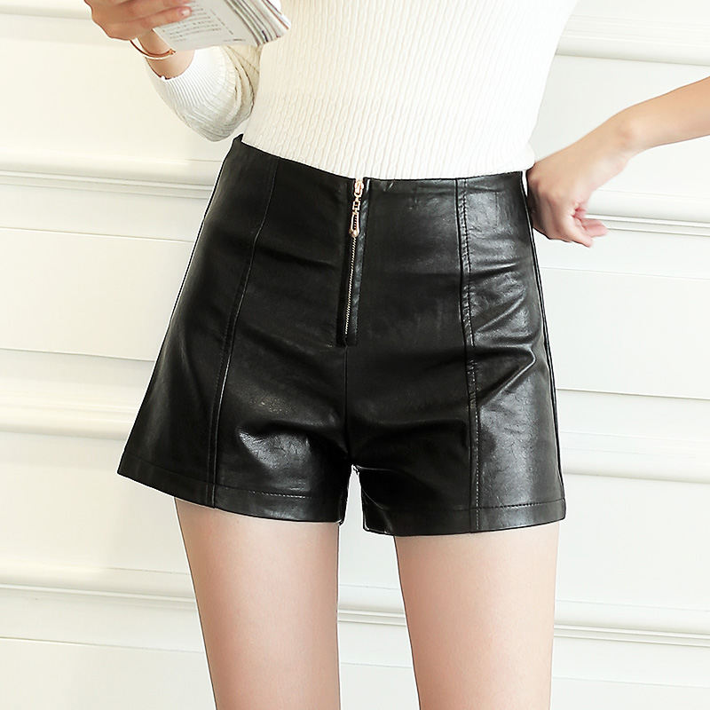 Autumn Women's Leather Shorts Women Female Summer High Waisted Shorts Leather Trousers Women PU Skinny Stretch Shorts Plus-size