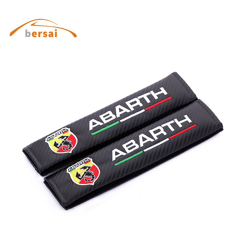 BERSAI Carbon fiber seat belt cover shoulder pad Car styling for ABARTH for peugeot 206 308 408 3008 4008 2008 accessories