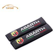 Carbon fiber seat belt cover shoulder pad Car styling for ABARTH for peugeot FIAT 500 Punto Stilo Ducato Palio 695 accessories