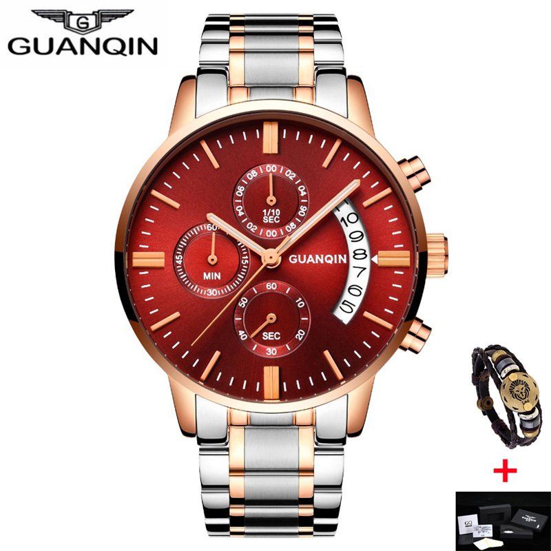 relogio masculino Mens Watches Top Brand Luxury GUANQIN Watch Men Sport Full Steel Quartz Watch Man Fashion Luminous Wristwatch new fashion mens watches gold full steel male wristwatches sport waterproof quartz watch men military hour man relogio masculino