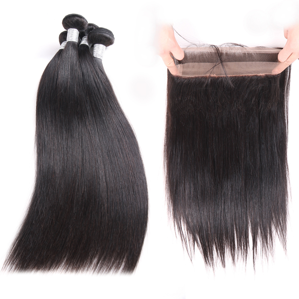 Brazilian Straight Hair 360 Lace Frontal With Bundles Remy Hair 3 Bundles Straight Hair Bundles With Closure-in 3/4 Bundles with Closure from Hair Extensions & Wigs    1