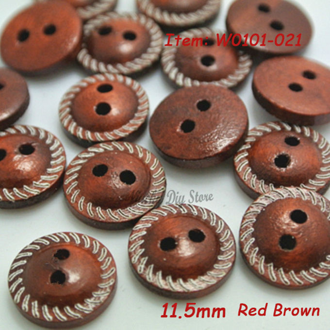 11.5mm(18L) striped side round wooden buttons wood shirt button or kids sew button decorative / diy red brown color wholesale