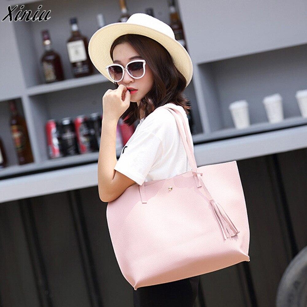 Для женщин сумки Обувь для девочек Ленточки сладкий розовый цвет кожи покупки плечо сумка простой мешок Bolsas De couro #7522 ...