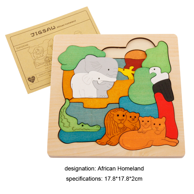 Interesting wooden 3D Puzzle early children educational font b toys b font multilayer cartoon animal puzzle