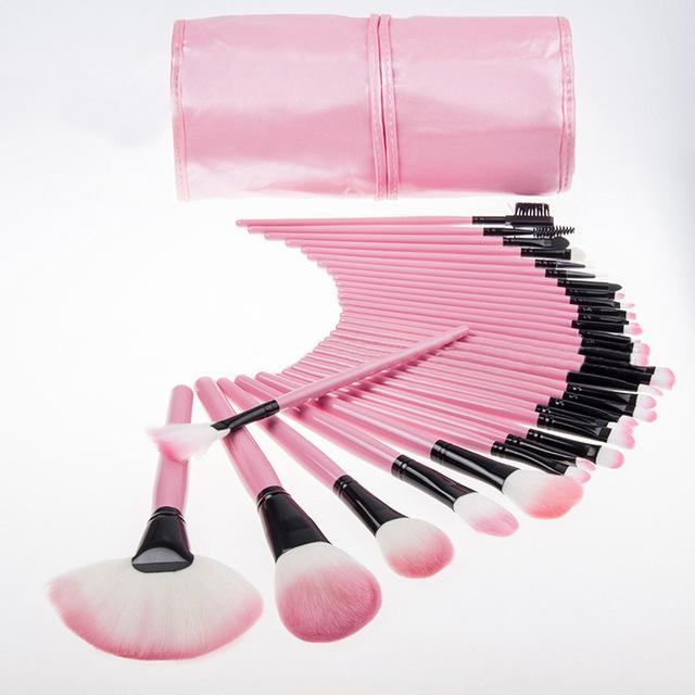 Venta caliente 32 Unids Pinceles de Maquillaje Cosmético Profesional de Maquillaje fundación sistema de Cepillo La Mejor Calidad de Color Rosa Negro