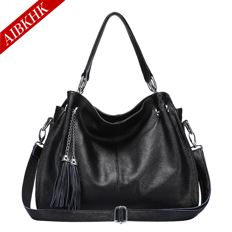 100% Genuine Leather New Fashion High Quality Women Handbags Ladies Shoulder Bags Female Girl Famous Brand Luxury Tassel Bag 100% genuine leather women bags luxury serpentine real leather women handbag new fashion messenger shoulder bag female totes 3