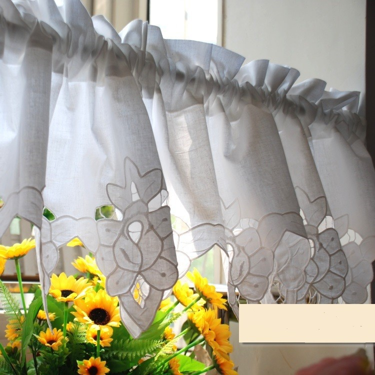 Aliexpress.com : Buy White Short Kitchen Curtains 100% Cotton Cafe Curtain  Embroidered Finished Kitchen Curtain From Reliable Curtain Jewelry  Suppliers On ...