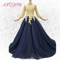 AXJFU Luxury princess lace flower long sleeve evening dress navy blue lace high neck vintage evening dress 100%real photo 347854