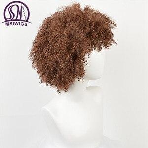Image 2 - Msiwigs peruca sintética encaracolada para negras, mulheres naturais, castanho, cor ombré, macia, curta, afro, com franja, dois modelos