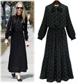 2017 plus size preto chiffon mulheres long dress ponto onda impresso gravata nó longo-manga plissada cintura elástica tornozelo-comprimento dress