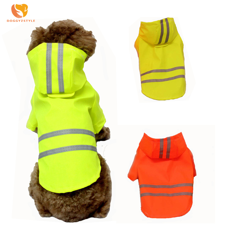 Pet Products Shock-Resistant And Antimagnetic Winter Waterproof Dog Raincoat Striped Reflective Pet Hoodie Jacket Puppy Cat Rain Coat Pets Costumes For Small Dogs Chihuahua Waterproof