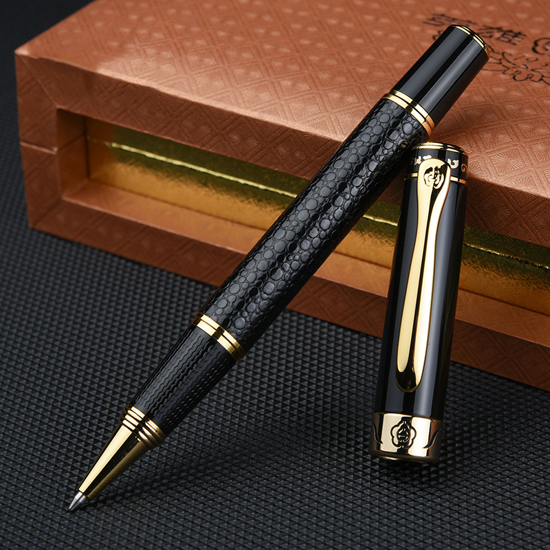 Gold Clip Black Rollerball Pen Luxury 0.5mm Good Writing Metal Writing Pens for Business Office Gift with an Original Box 1pcs jinhao 163 dark blue and silver clip 0 7mm rollerball pen luxury metal ballpoint pens for writing office christmas gift