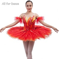 New Style Customer Size Made Flaming Red Color Professional Ballet Tutu For Ballerina Dance With Feather Decoration Stage Wear