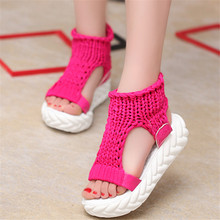 Designer Women Thick Heel Sandals Sexy Summer Platform Shoes woman Hand-Woven high Ladies Sandalias