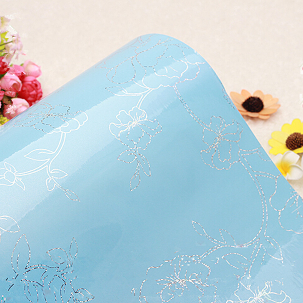 Aliexpress.com : Buy yazi Gloss Blue Flower PVC Waterproof Wall ...