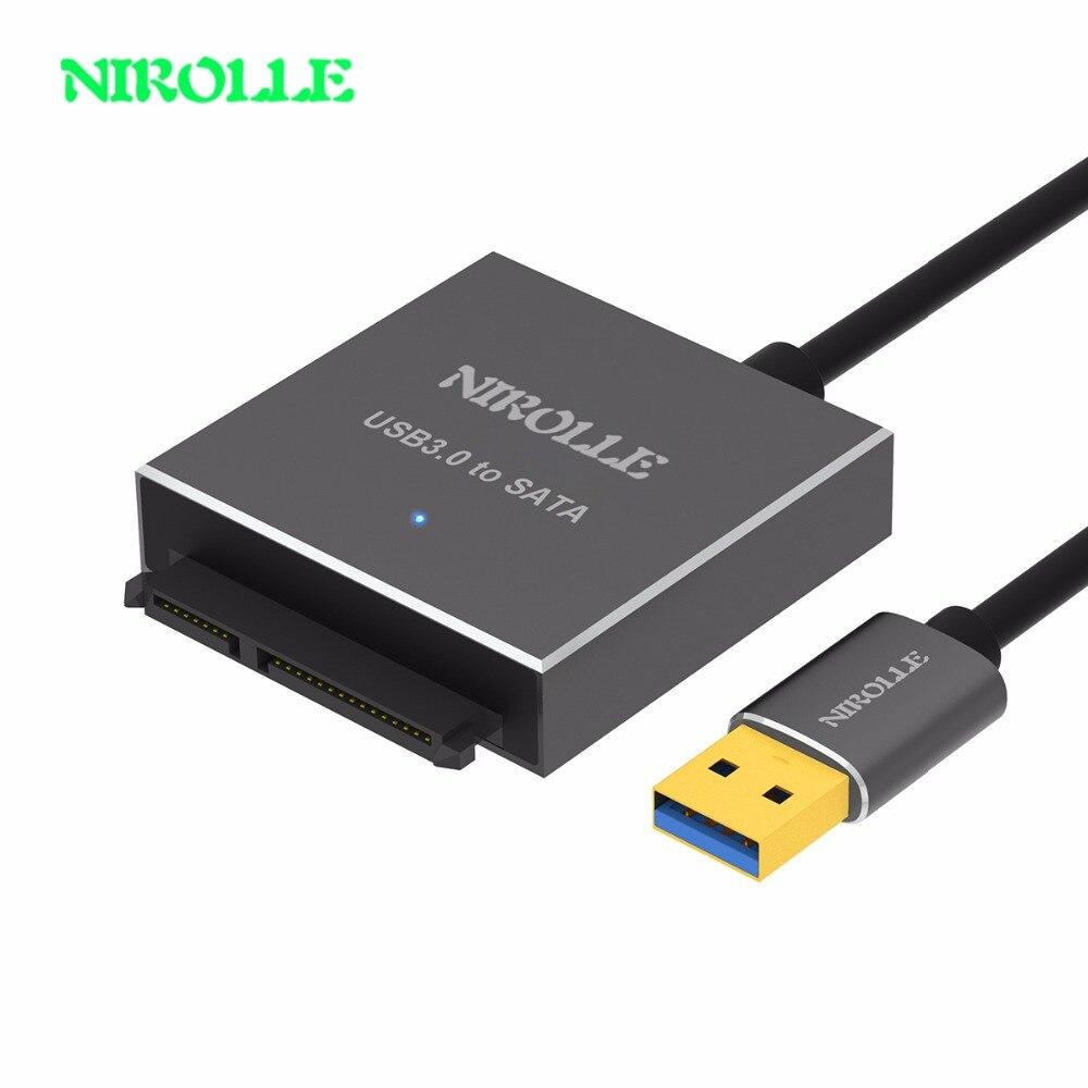 NIROLL SATA a USB 3,0 adaptador USB 3,0 a Sata Cable Convertidor para Samsung Seagate WD 2,5 3,5 HDD SSD disco duro USB Sata adaptador