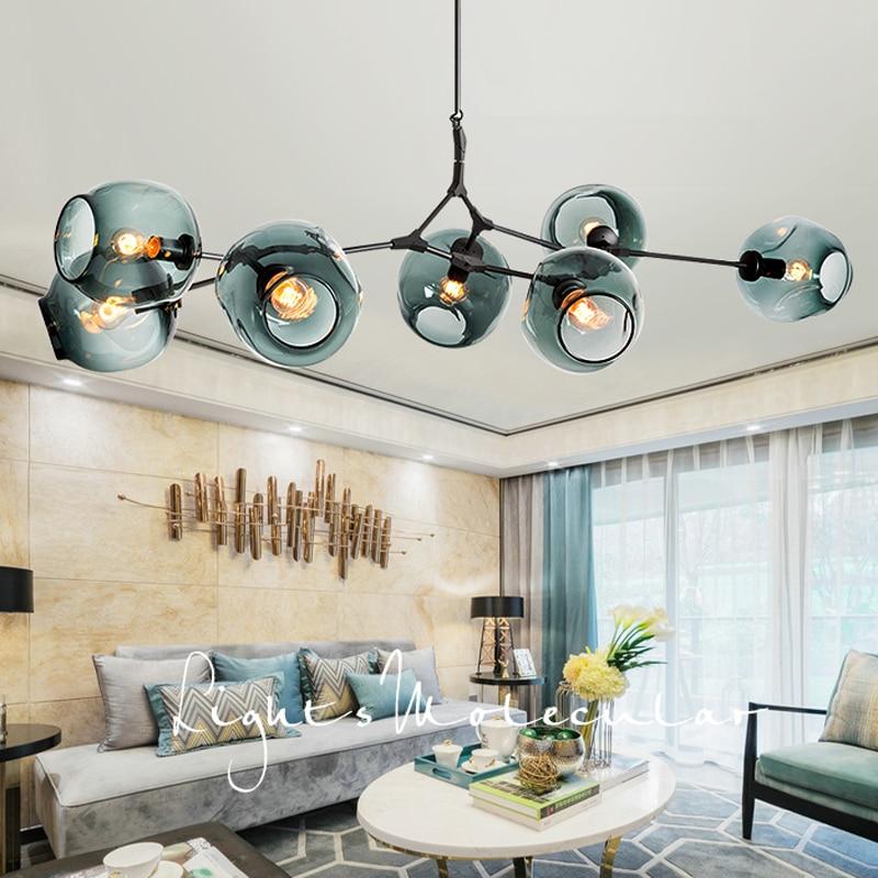 E27 Modern Glass Pendant Light Nordic Dining Room Kitchen Light Designer Hanging Lamps Avize Lustre Lighting black v neck cold shoulder playsuit