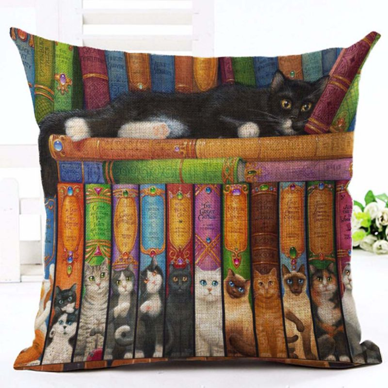 Pillow Case Book Cat Party Cushion Customized Throw Pillow Home Decorative Cotton Linen Printing