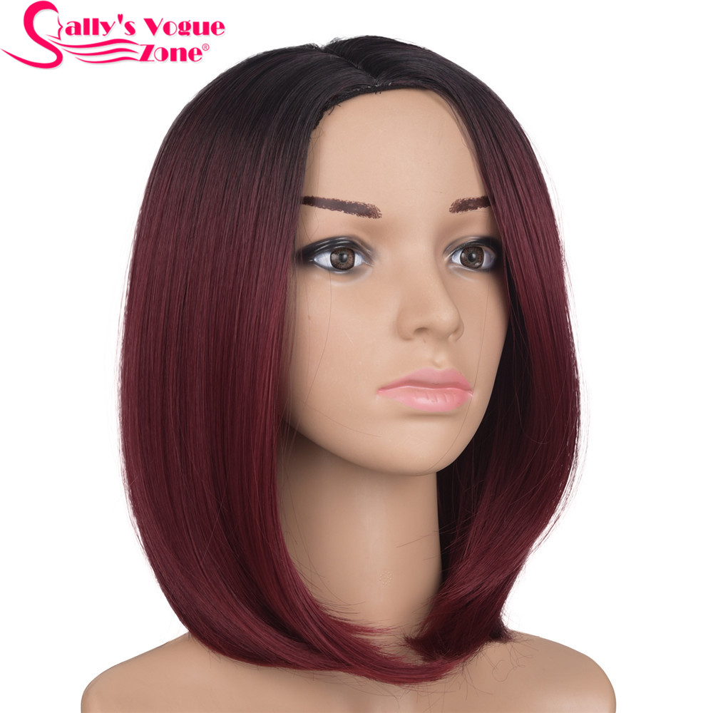 Sallyhair High Temperature Synthetic Straight Short Ombre Black Wine Red Color American African Bob Wigs Hair For Black Women