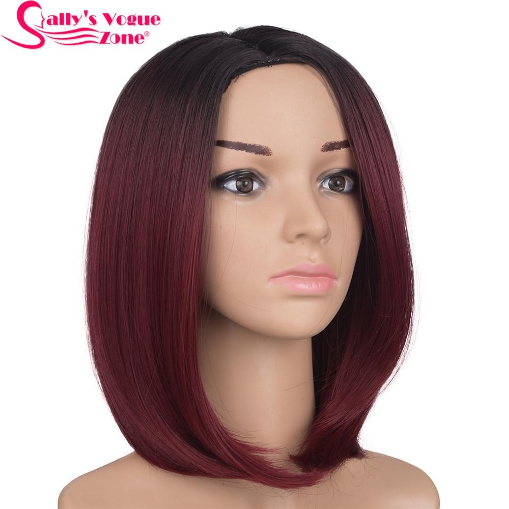 Sallyhair hög temperatur syntetisk rak kort ombre svart vin röd färg amerikansk afrikansk bob peruker hår för svarta kvinnor