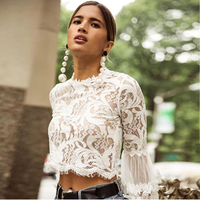 2018 Fashion Summer Boho Mini Blouse Long Puff Sleeve Crop Tops Sexy Perspective O Neck White