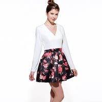 Young 17 Autumn Print Dress Mid Waist V Neck Ball Gown Long Sleeve White Patchwork Dress