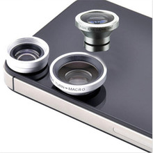 Hot Sale Useful 3 in 1 Fisheye Lens+Wide Angle+Micro Lens Photo Kit Set For Iphone Smart phone