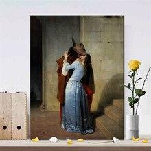 Italia pintor Francesco Hayez BESO-Il Bacio carteles y huellas cuadro sobre lienzo para pared imagen de amantes para decoración para sala de estar, regalo