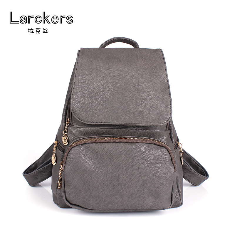 Solid pu backpack girls casual softback bag with cover double strap bag vintage color fashion backpack