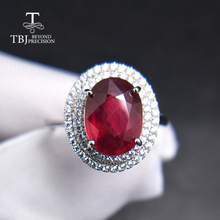 TBJ,Popular elegant Ring with natural Ruby in 925 sterling silver gemstone jewelr for women & girls as a wedding valentines gift tbj natural ruby gemstone simple