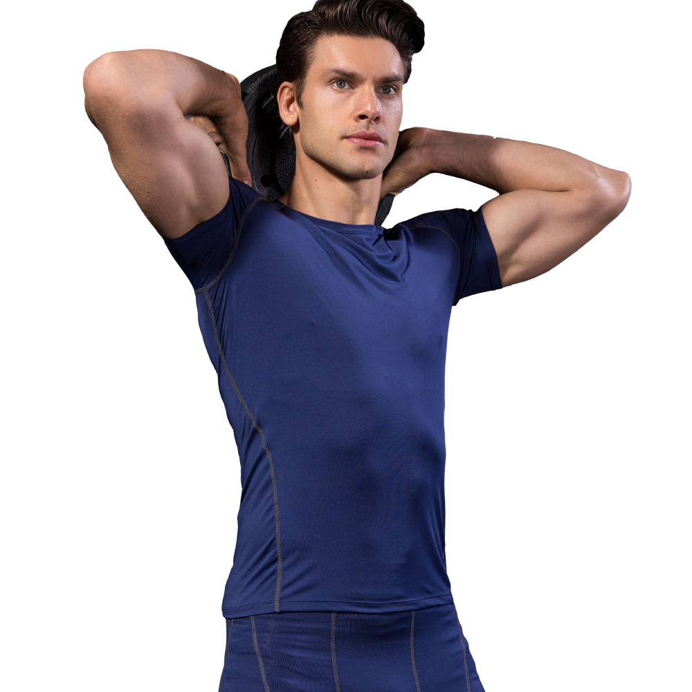 New Men's T-shirts Quick Dry Tight Fitness Running T shirts Male Solid Short Sleeve Gym Sport Top Tee Clothing Men's Sportswear