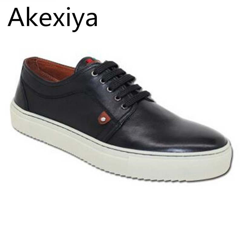 Akexiya Spring And Summer Fashion New Men Casual Shoes Flats Shoes Men Lacing Full Grain Leather Flats Plus Size Free Shipping free shipping 2017 new black brown autumn and winter full grain leather casual shoes men s fashion flats lace up shoes for men