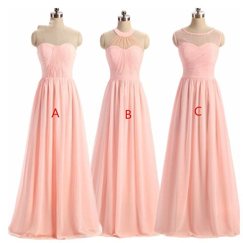 Holievery Pink Pleated Chiffon Long   Bridesmaid     Dresses   2019 Damas De Honor Vestidos A Line Wedding Party   Dress   Abito Damigella