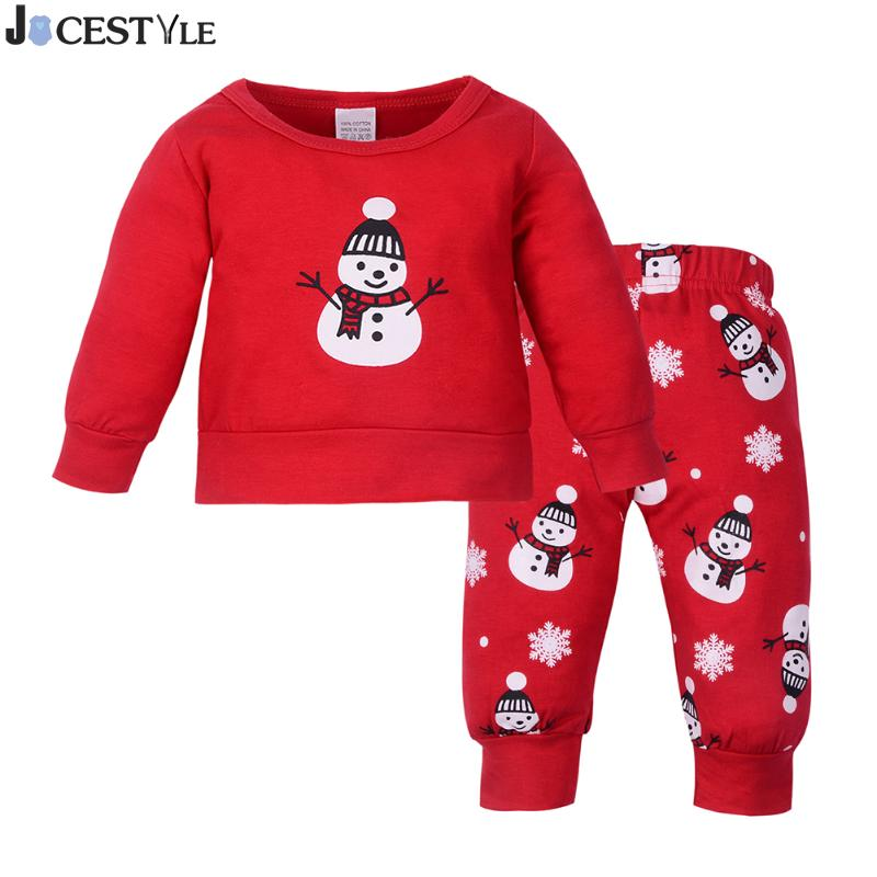JOCESTYLE 2pcs Newborn Baby Boys Girls Clothes Winter Christmas Clothing Set Snowman Print O-neck Long Sleeve T-shirt+Pants cotton baby rompers set newborn clothes baby clothing boys girls cartoon jumpsuits long sleeve overalls coveralls autumn winter