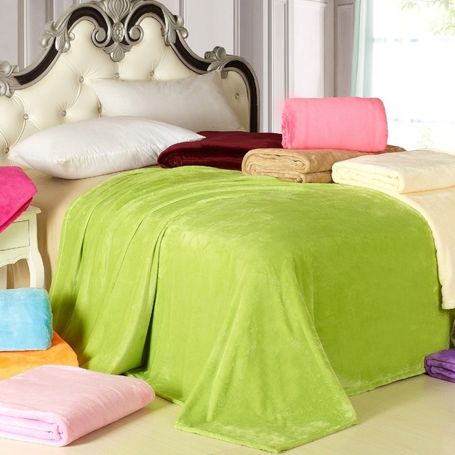 CAMMITEVER Home Textile Sofa Bedding Fleece Blanket Summer Solid Color Blankets Super Soft Warm Flannel Throw On Sofa/Bed/Travel