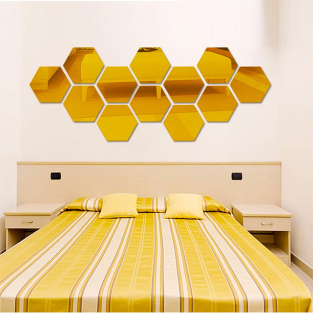 Three-dimensional hexagonal 7 Piece Wall Decoration Acrylic Mirrored Decorative Sticker Room Decoration DIY Wall Art Home Decor