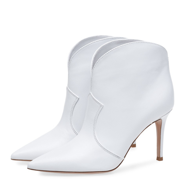 Women s Shoes Fashion Ankle Boots Stilettos High Heels White Women 2019 Autumn Sexy Booties Pointed