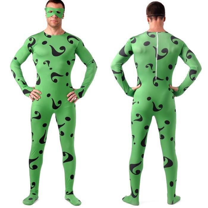 El acertijo de carnaval de disfraces de halloween para hombres adultos Batman superhéroe cosplay zentai traje completo de encargo al por mayor en Ropa de