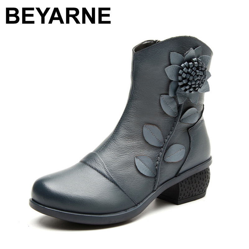 BEYARNE New Women s Fashion Winter Warm Genuine Leather Ankle Boots Women Oblique Zipper Floral Boots