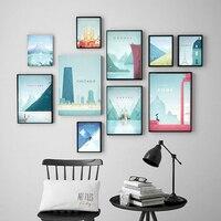 العالم الشهير السفر لندن المشارك سلسلة الجذب حائط لوح رسم الفن الملصقات والمطبوعات صور لغرفة المعيشة ديكور