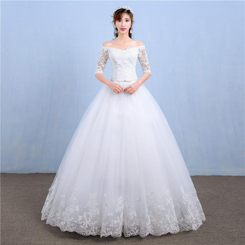 Vestido De Noiva 2019 New Simple Boat Neck Wedding Dress Flower Half Sleeve Plus Size Custom Made Lace Up Wedding Gown L