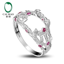 CaiMao Emerald cut Semi Mount Ring Settings &   0.9ct  Diamond 14k White Gold Gemstone Engagement Ring Fine Jewelry