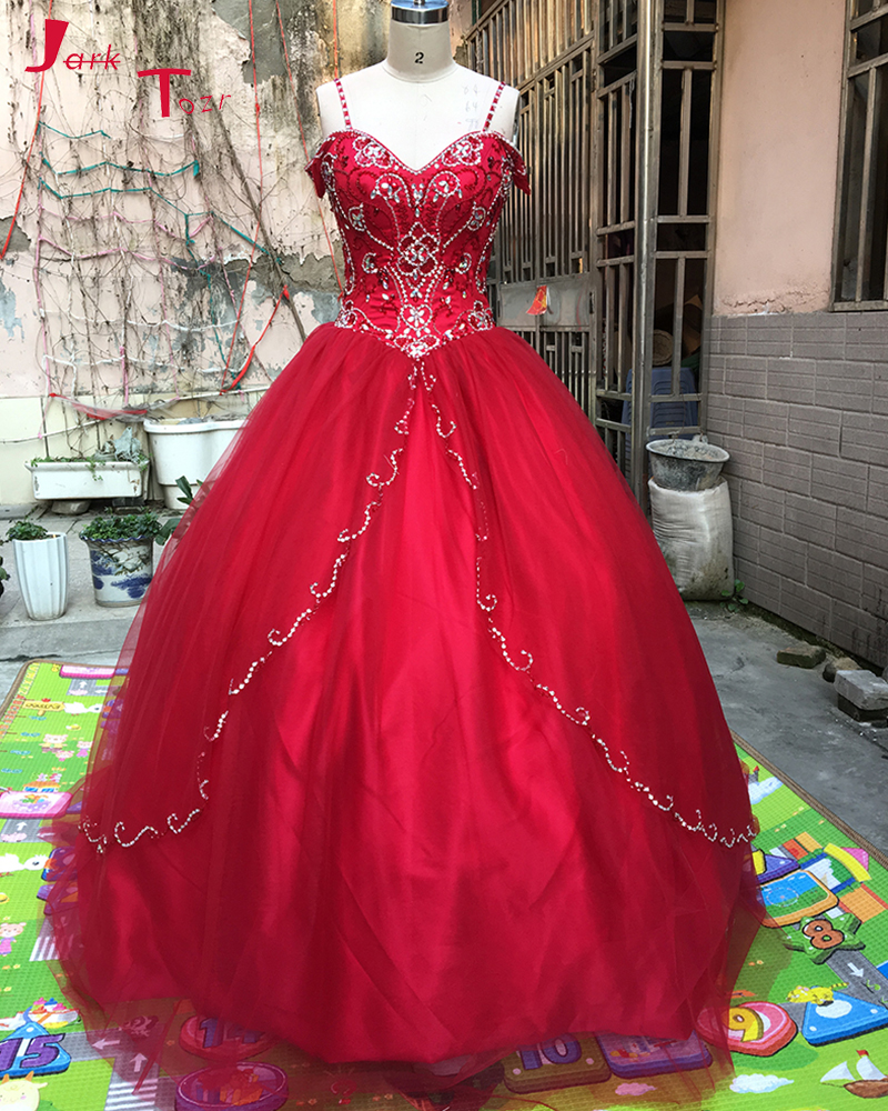 Jark Tozr Spaghetti Strap Lace Up Beading Crystal Red Orange Dark Turquoise Organza Quinceanera Dresses 2017 Vestidos De 15 Anos