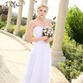 ADLN In Stock Sweetheart Chiffon Wedding Dresses Plus Size 2017 Cheap A-line Beaded Summer Bohemian Bridal Gowns