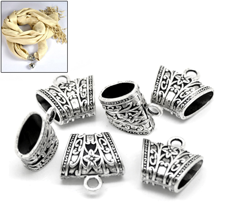 MJARTORIA 10PCs Silver Tone Floral Carved Bail Beads Jewelry & Components For Jewelry Making Women Wrap Scarf (Hole Size:15x7mm)