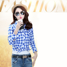 27074a3c86739a Red Plaid Shirt Women Autumn Long Sleeve Blue flannel Plaid Shirt 2017  Ladies Plus Size Cotton