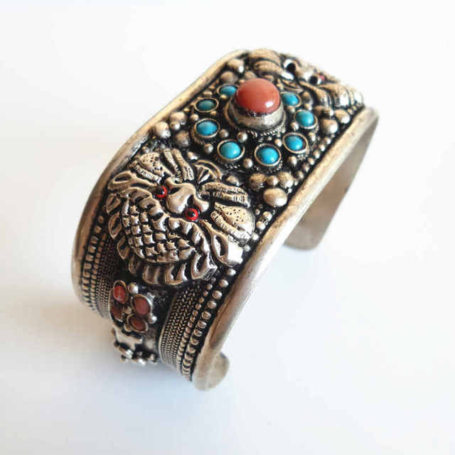 BB-221 Tibetan Bangle Tibetan Silver Inlaid Stone Open Cuff Superwide BOHO Vintage