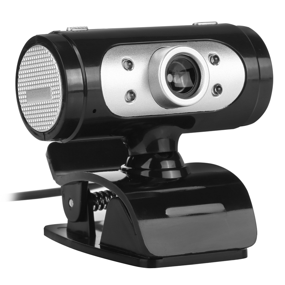 ALLOET High Definition 1280*720 Camera Webcam 4 LED HD 360 Degrees Camera With Night Lights Webcam Mic Clip-on For PC Computer