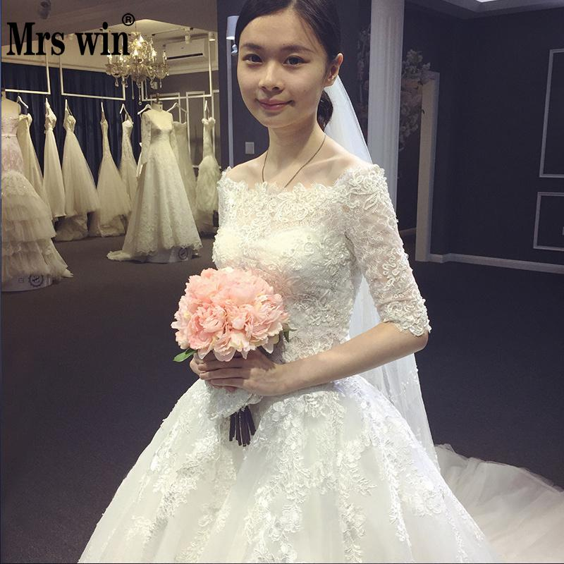 Luxury Long Train Wedding Dress 2019 Half Sleeve Lace Off Shoulder Elegant Wedding Gown Vintage Bridal