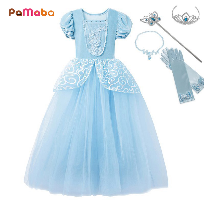 PaMaBa Girls Cinderella Princess Dresses Outfit Multi Layers Make-up Party Kids Homecoming Prom Robes Gown Cinderella Costumes cinderella cinderella night songs